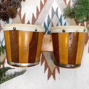 Vintage 1965 Handmade Wood & Goatskin Bongo Drums
